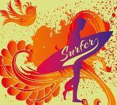Pacific surfer vector graphic design — Stock Vector