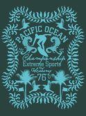 тихоокеанский серфер векторный графический дизайн — Cтоковый вектор