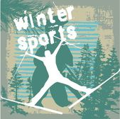 Winter sports skier vector art — Stok Vektör