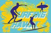 太平洋サーファー ベクトル グラフィック デザイン — ストックベクタ
