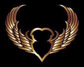 Metalický zlatý křídla a štít vektorové umění — Stock vektor