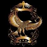 Gold eagle shield vector art — Stock Vector