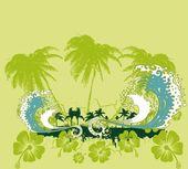 Pacific ocean palm beach vector art — Stock Vector
