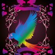 Heart and birds frame vector art — Imagen vectorial
