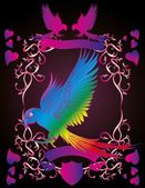 Heart and birds frame vector art — Stockvektor