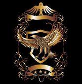 Gouden adelaar schild vector kunst — Stockvector
