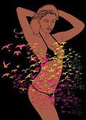 Fashion bikini girls vector art — Stock Vector
