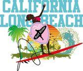 Pacific ocean surfer girls vector art — Stock Vector