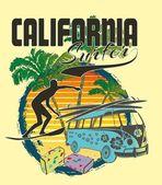Palm beach surfer vector art — Vettoriale Stock