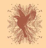 Fond noir oiseaux vie vector art — Vecteur