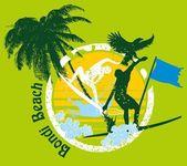 Diseño gráfico del pacífico surfista vector — Vector de stock