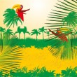 Paradise palm beach vector art — Stockvectorbeeld