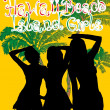 Palm beach bikini beach girls vector art — Vektorgrafik