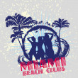 Palm beach bikini beach girls vector art — Stockvectorbeeld