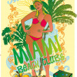 Palm beach bikini beach girls vector art — Stock vektor