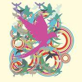 Parrot palm beach vector art — Stock Vector
