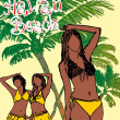 Palm beach bikini beach girls vector art — Stockvektor