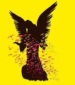 雕像的翅膀的鸟和玛丽亚矢量艺术 — 图库矢量图片