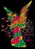 Statue wings vögel und maria vektorgrafiken — Stockvektor