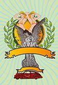 Statue ailes d'oiseaux et maria vector art — Vecteur