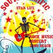 South pacific rock music skeleton surfer vector art — Image vectorielle