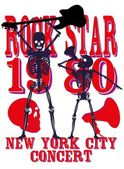 Skeleton disco music retro style vector art — Stockvektor