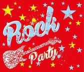 Rock party skull guitar vector art — Stock Vector