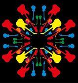 将混合颜色的吉他图案矢量艺术 — 图库矢量图片