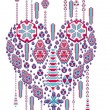 Ethnic pattern heart and love vector art — Stock Vector