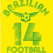 Brazilian football retro style vector art — Stock Vector