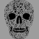 Music skull and guitar vector art — Stock Vector