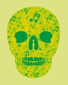 Music skull and guitar vector art — Stockvektor