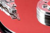 открытые жесткого диска с красной отражения — Стоковое фото