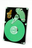 открытые жесткого диска с зеленым отражения — Стоковое фото