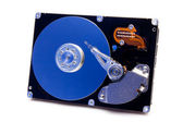 Open harddrive with blue reflection — Stock Photo