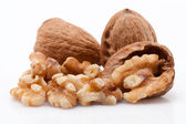 Open walnuts isolated on white background — Stock Photo