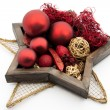 Stock Photo: Star shaped / round silver dish with christmas bauble / red candles and chr