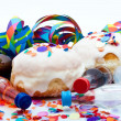 Stock Photo: Donuts for party isolated on white background with air streamers and conf