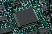 Infromation technology computer board with cpu and free space — Stock Photo