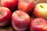 Closeup of six juicy sweet red apples — Stock Photo
