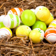Colorful painted easter eggs hidden in a nest of straw — Foto de Stock