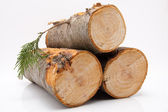 Stack of firewood isolated on white background — Stock Photo