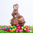 Easter bunny made of chocolate with easter egg on a green meadow with flowers in front of a blue sky — Stock Photo