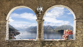 Window on the lake — Stock Photo