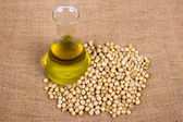 Soy bean and oil — Stock Photo
