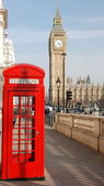Big ben with telephone booth — Stock Photo