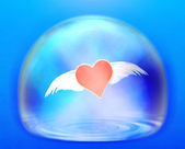 Flying Heart in sphere — Stock Photo
