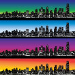 图库矢量图片: City skyline vector set