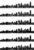 City skyline vector set — Stock Vector