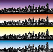 City skyline vector set — Stok Vektör